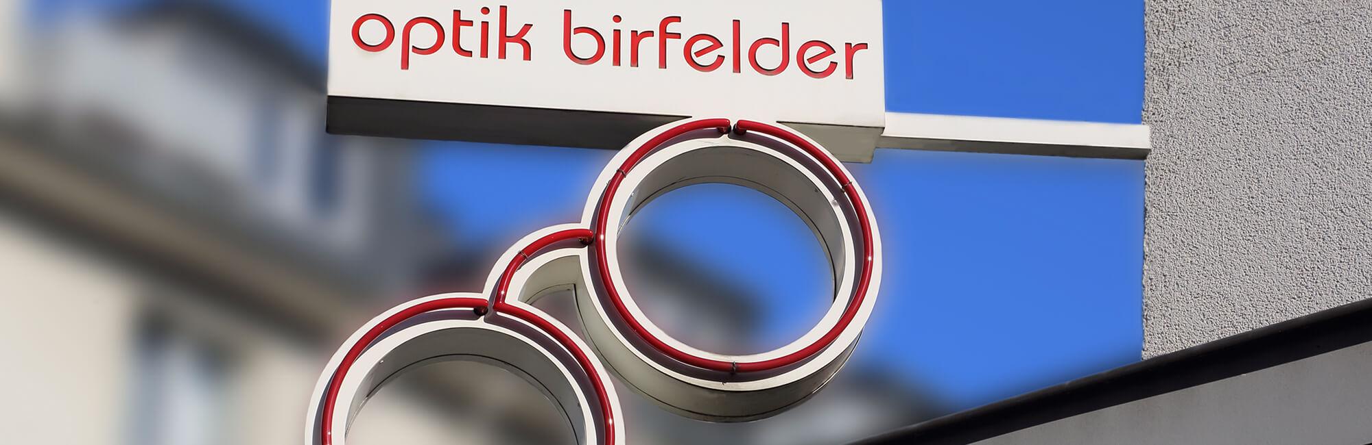 Birfelder Brillen Optiker Logo Schild